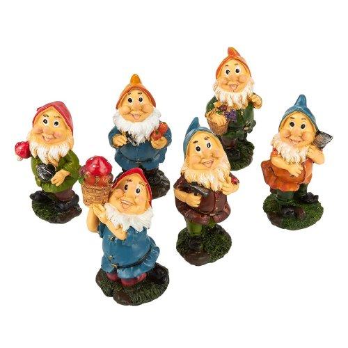 Juvale Set of 6 Mini Gnome Figures - Fairy Garden Gnomes - Gnome Figurines, Assorted Colors, 1.7 x 4 x 1.6 Inches