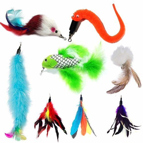 [AIDIYA]Cat Toy Interactive Toy Feather Teaser Cat 6 Pcs Feather (Mixed color)