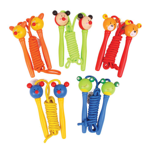 Bigjigs Toys Coloured Skipping Rope with Animal Themed Handles - Outdoor Toys and Games