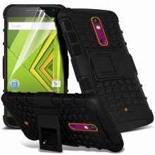 Itronixs - Samsung Galaxy S6 Edge Rugged Heavy Duty Armour Shock Proof Hard Stand Case Cover with Lcd Screen Protector
