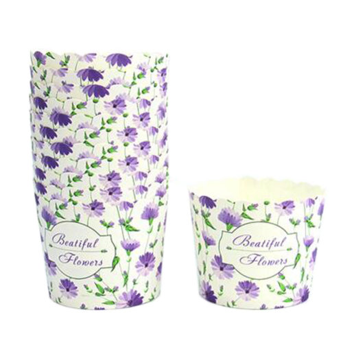 150PCS Lovely Pattern Baking Paper Cups Cake Cup Cupcakes Cases, Purple Flower
