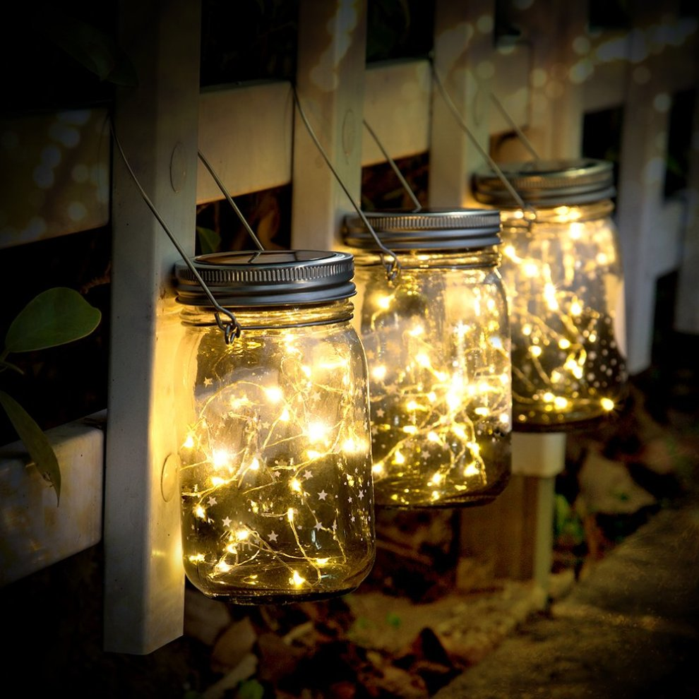 Christmas Solar Garden Lanterns Outdoor Sunnow Hanging Lights Mason Jar