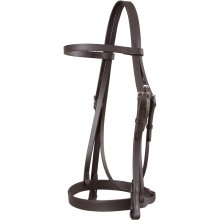 Jeffries Wembley Snaffle Bridle with Plain Cavesson and Plain Reins: Dark Havana: Small Pony