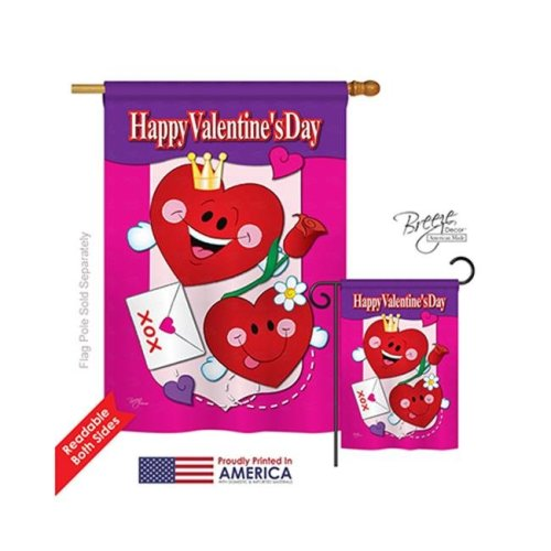 Breeze Decor 01040 Valentines Happy Valentines Day 2-Sided Vertical Impression House Flag - 28 x 40 in.