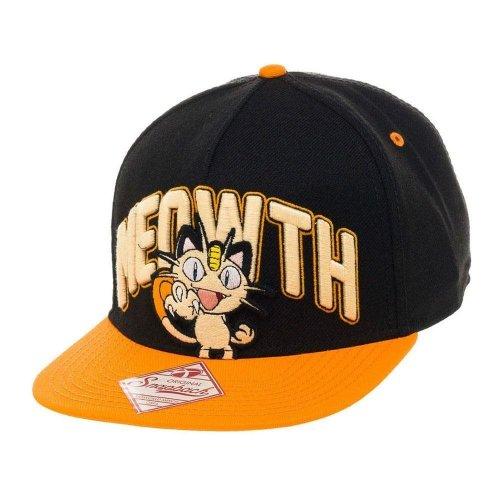 Pokemon Unisex Meowth Snapback Baseball Cap One Size - Black/Orange