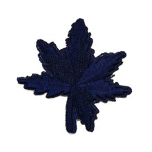 12PCS Embroidered Fabric Patches Sticker Iron Sew On Applique [Leaf Dark Blue]