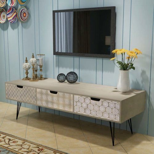 vidaXL TV Cabinet with 3 Drawers 120x40x36cm Grey Furniture Table Unit Stand