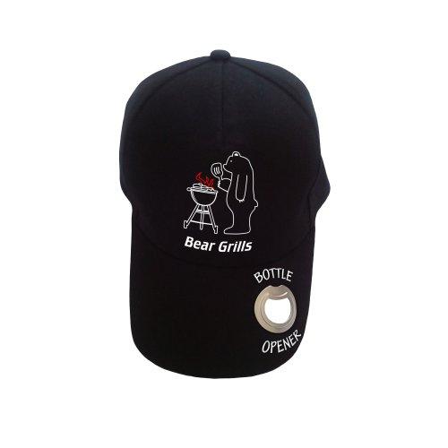 Novelty baseball cap with bottle opener BEAR GRILLS BBQ