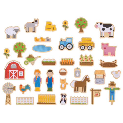 Bigjigs Toys Wooden Farm Magnets - 35 Magnets
