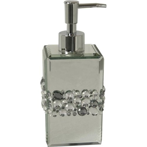 Elegant Home Fashions 90404 Bling Lotion Dispenser - Silver Mirror-Multi Color Beads