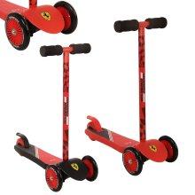 Official Ferrari Red / Black Mini Push Scooter Twist n Turn Three Wheel Tilt [Black]