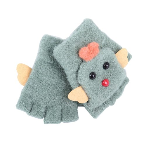 Cute Cartoon Kids Gloves Winter Warm Half Finger Flip Top Knitted Mittens, #09