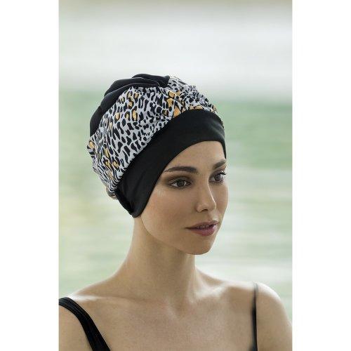 e4a374a60c Retro Style Swim Cap - Fashy Turban Swimming Hat - Black   Gold Animal  Print on OnBuy