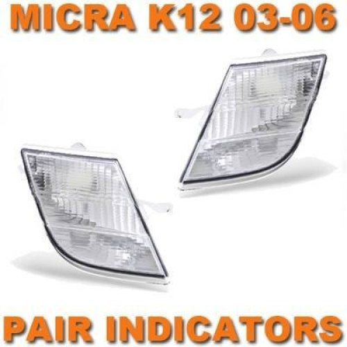 Nissan Micra K12 2003-2006 Clear Front Indicators Lights Left & Right Pair