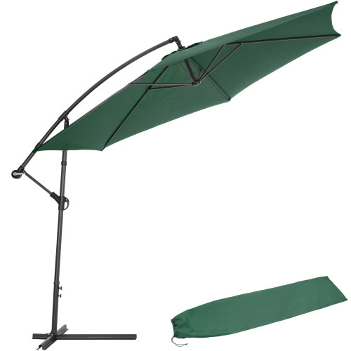 Cantilever Parasol 350cm with protective sleeve green