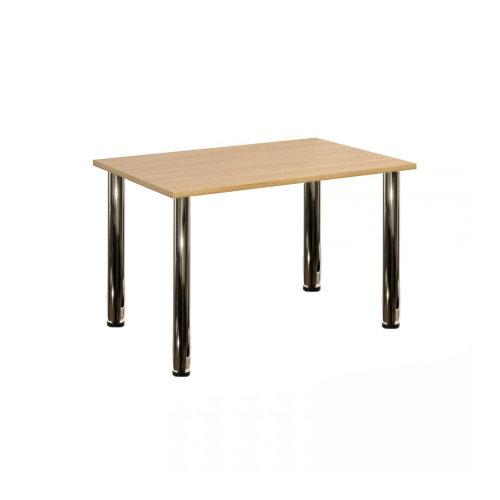 Computer Desk Office Dining Table Workstation Chrome Legs Oak Top 120x80cm