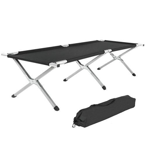 4 camping beds made of aluminium black