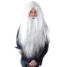 Long Wizard Wig & Beard (White)