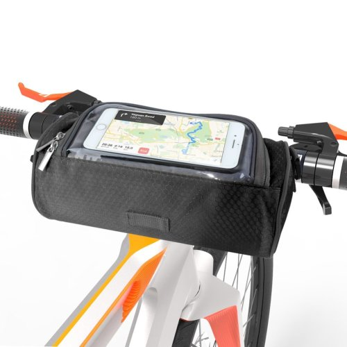 ANSUG Bike Frame Bag, Waterproof Cycling Handlebar Bag Multifunctional Shoulder Bag/Bicycle Pouch with Touch Screen Transparent Window -...