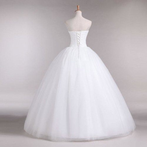 New A Line Lace Sweetheart Off the shoulder Sleeveless White Satin Bridal Wedding Dress Wedding Gown 30335