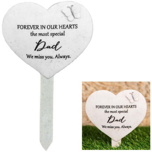 Thoughts Of You 'Heart' Graveside Stake - Dad