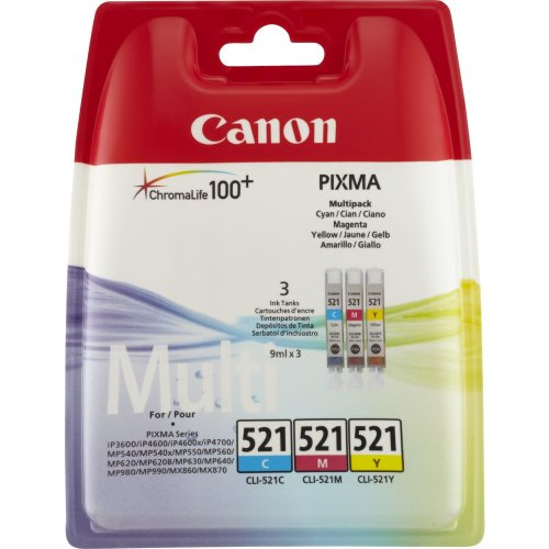3pk Canon CLI-521 Cyan, Magenta & Yellow Ink Cartridges