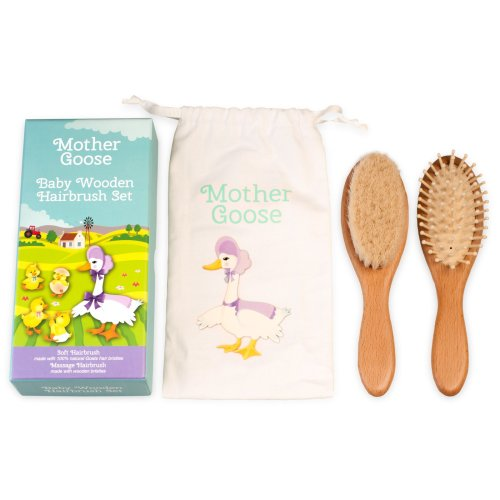 All Natural Baby Hair Brush Set in Gift Box & Cotton Draw String Bag