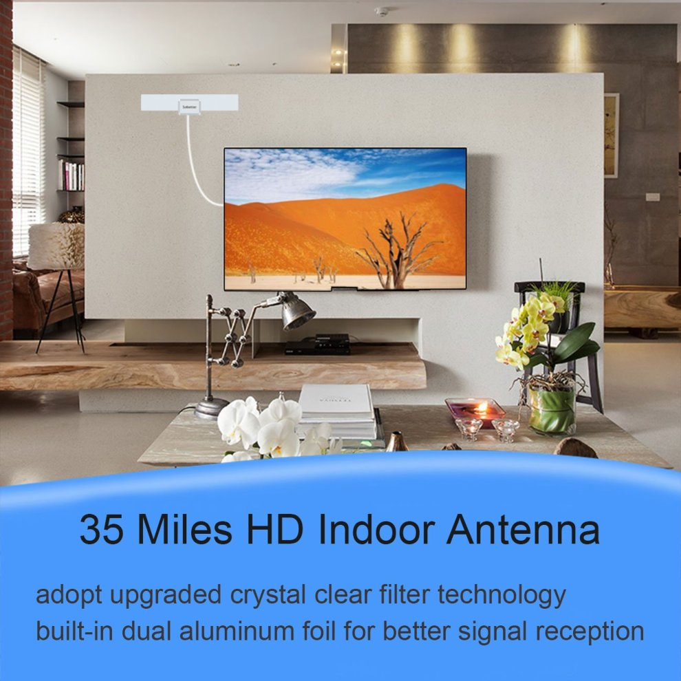 TV Aerial, Sobetter Ultra Thin Indoor HDTV Antenna 35 Miles Range with  Excellent Performance for Digital and Analog TV Signals, VHF/UHF/FM,  Window