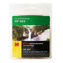 Kodak Remanufactured HP364 Black & Colour Inkjet Ink Combo Pack, 25ml