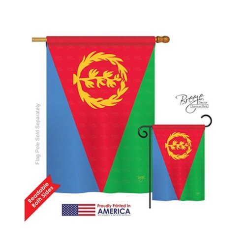 Breeze Decor 08299 Eritrea 2-Sided Vertical Impression House Flag - 28 x 40 in.