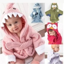 Cute Cartoon Style Kid's Cotton Bathrobe Hooded Bathrobe Suitable Baby
