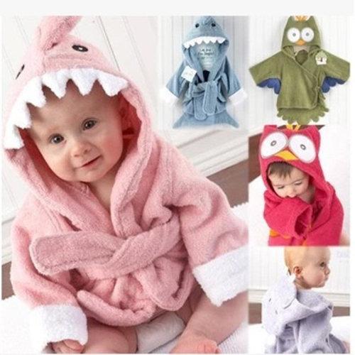 Cute Cartoon Style Kid's Cotton Bathrobe Hooded Bathrobe Suitable Baby