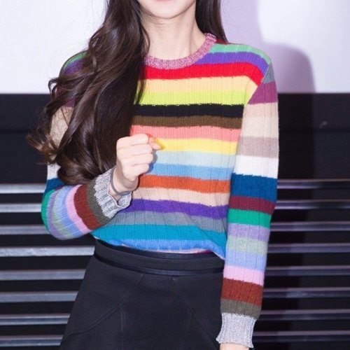 Women Rainbow Stripe Knitted Sweater Jumper Pullover Cardigan Top