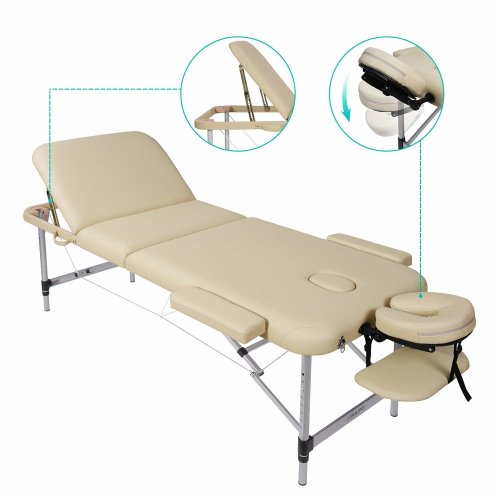 Naipo Deluxe Massage Table Beauty Bed 3 Section Foldable Height Adjustable Aluminum with Premium PU Leather and 5 cm High Density Multi-Layer Foam...