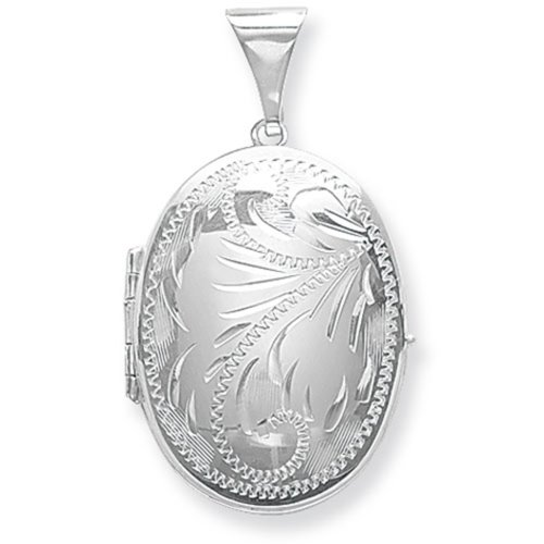 Childrens Sterling Silver Large Full Engraved Family Oval Locket On A Curb Necklace