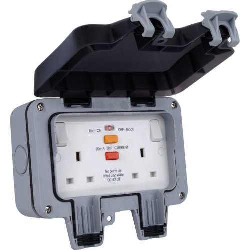 British General WP22RCD 13A 2-Gang Storm Weatherproof Outdoor RCD Switched Socket ...