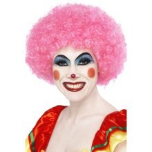 Smiffys Crazy Clown Wig - Pink -  wig clown pink afro fancy dress crazy unisex smiffys 70s funky party