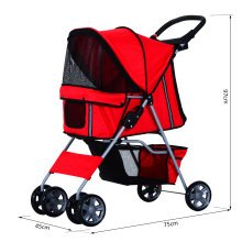 PawHut Pet Stroller Cat Dog Basket Zipper Entry Fold Cup Holder Carrier Cart Wheels Travel Red