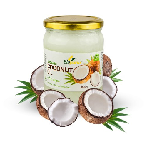 Certified Organic Cold Pressed Extra Virgin Coconut Oil 500ml Biopurus
