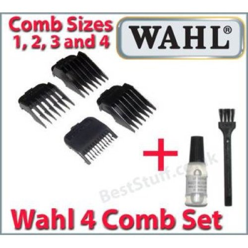 Wahl 4 Comb Set Standard Fitting Combs + Oil and Brush