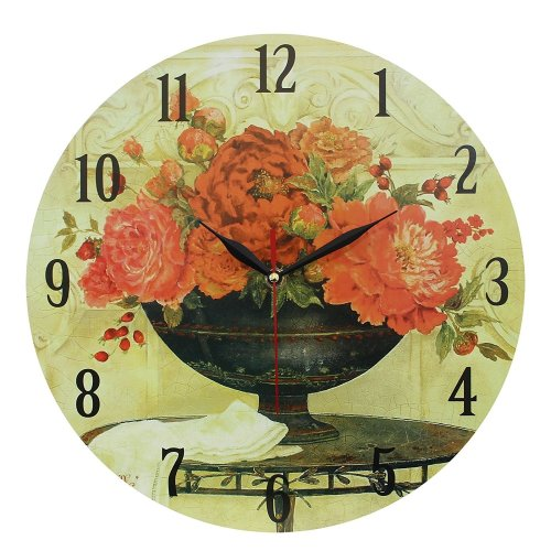Obique Home Decoration Red Flowers in Blue Vase 34cm MDF Wall Clock