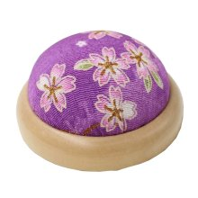 Set of 2 Pin Cushions for Sewing with Wood Base - 06