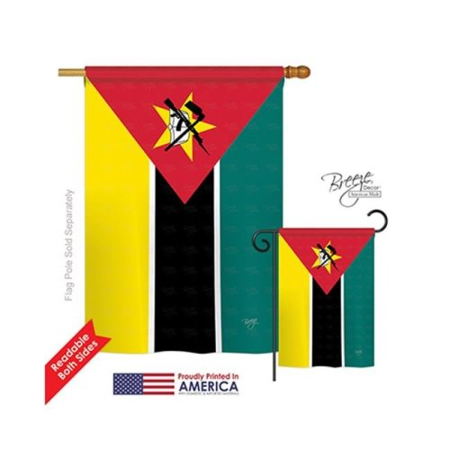 Breeze Decor 08287 Mozambique 2-Sided Vertical Impression House Flag - 28 x 40 in.