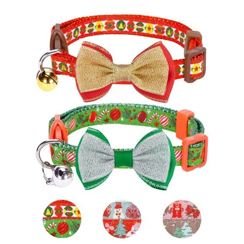 Blueberry Pet Pack of 2 Cat Collars, Holiday Fun Celebration Finale Adjustable Breakaway Cat Collar with Bow Tie & Bell, Neck 23cm-33cm