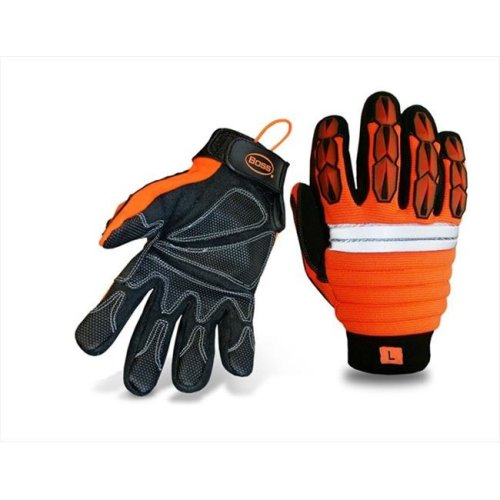 Boss 1JM550M Medium Mechanics Style Miner Gloves in High Visibility - Pack of 6