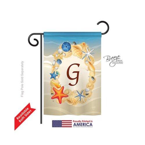 Breeze Decor 80163 Summer G Monogram 2-Sided Impression Garden Flag - 13 x 18.5 in.