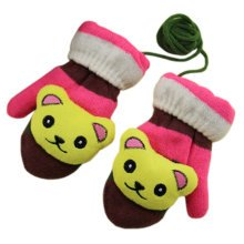 1 Pair Children's Winter Gloves Soft knitted&Warm Mittens (3-6 Years) Bear