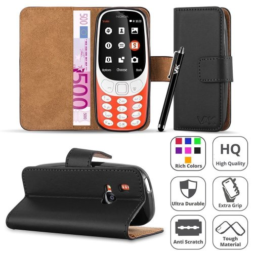 For Nokia 3310 Premium Leather Flip Case Cover