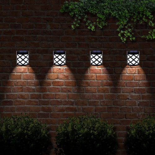 4 X Solalite 6 LED Decorative Wireless Garden Solar Lights Weatherproof Outdoor Fence Lamps (4)