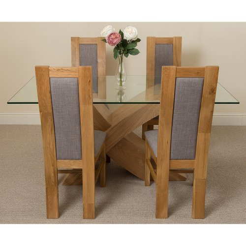 Valencia Small Oak 160cm Glass Dining Table with Stanford Dining Chairs